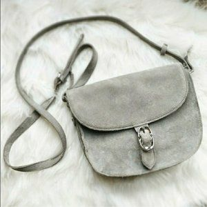 Emma Fox Gray Suede Leather Medium Crossbody Bag